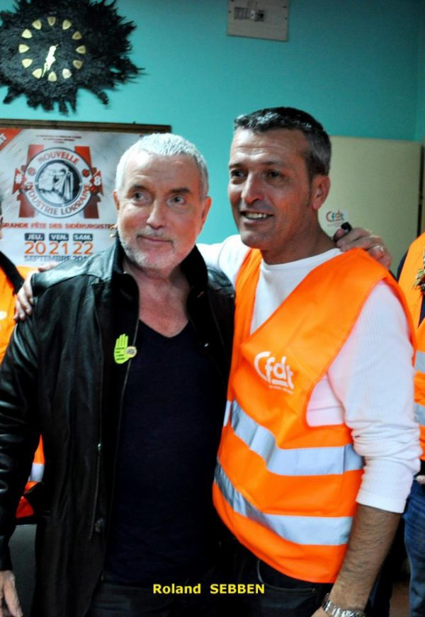 Bernard Lavilliers et Edouard - photo du site La lutte des sidérurgistes et sous-traitants d'Arcelor contre Mittal