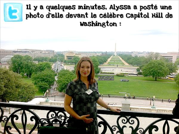 .  27.04.11 - Alyssa a participé à une réunion avec le porte-parole du gouvernement américain John Boehner et la Creative Coalition qui avait pour thème de plaider le financement des arts. Et le 30 avril, Alyssa sera l'invitée de la Creative Coalition au dîner des correspondants de la Maison Blanche. .