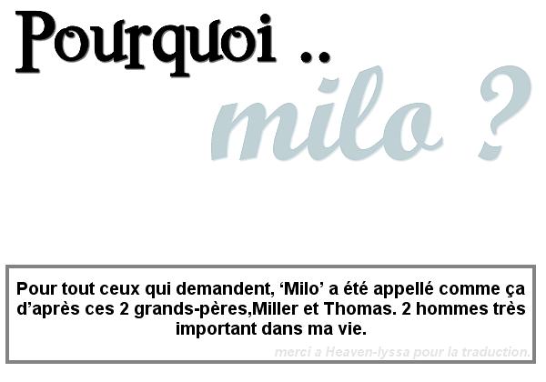 . Alyssa nous explique sur son Twitter pourquoi elle a appelé son fils Milo :   .