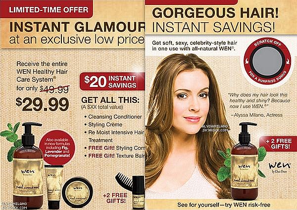 . Voici 2 publicités pour Wen hair care et une promo pour la campagne Believe in zero. Alyssa, toujours dans la simplicité et toujours aussi belle..Désolé pour la qualité des photos, elles sont comme ça à la base.