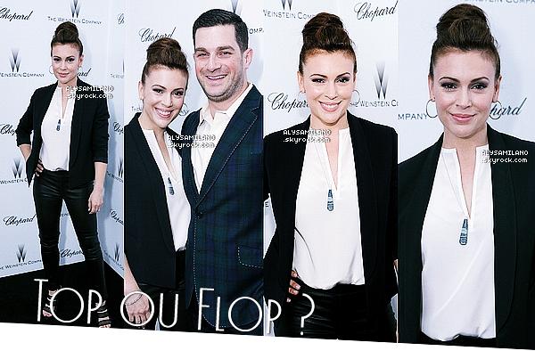 . 23.02.13 : Alyssa était à la soirée «Weinstein Company Academy Award Party» organisée par Chopard à LA.Wow, j'adore sa tenue, son makeup et sa coiffure ! C'est un vrai TOP pour ma part. Et toi, n'hesite pas à donner ton avis!