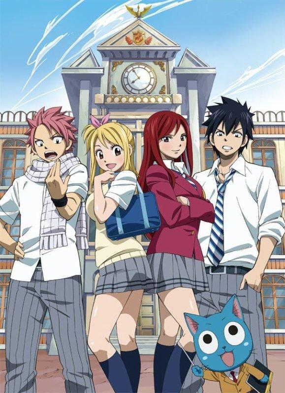 Natsu, Lucy, Erza etGrey au lycée... Happy le professeur