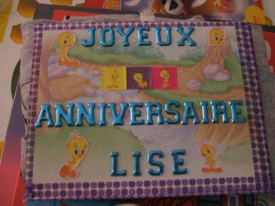 pour l'anniversaire de Lise