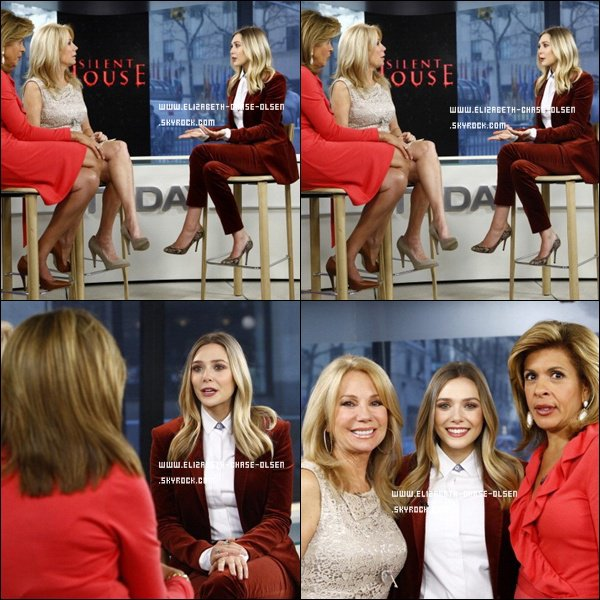 ". Le 09 Mars 2012 -   Elizabeth passait dans l'émission ""Today"" avec Kathie Lee and Hoda à New York. ."