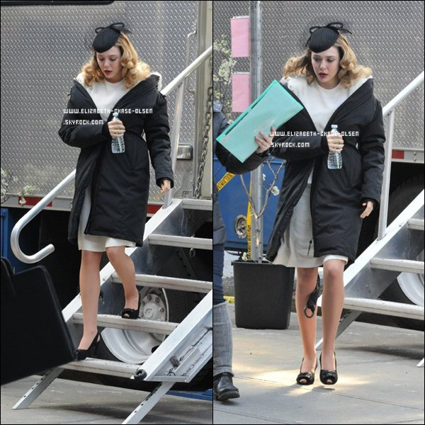 ". Le 26 Mars 2012 -   Elizabeth sur le set de ""Kill your Darling"" à New York. ."