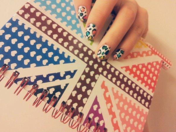 Nail-Art Léopard Multicolor