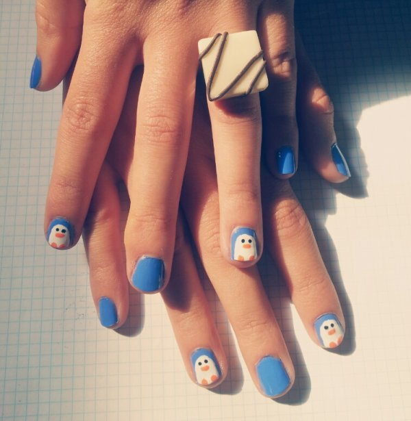 Nail-Art Pingouin