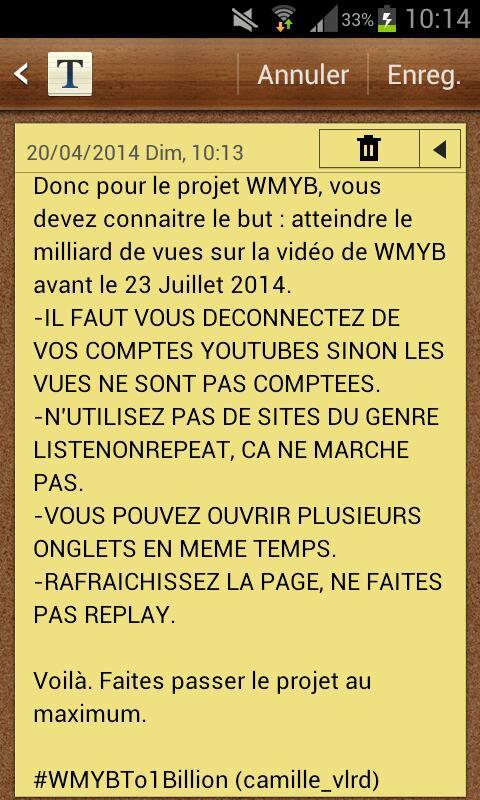 Encore une fois, Le projet pour WMYB.