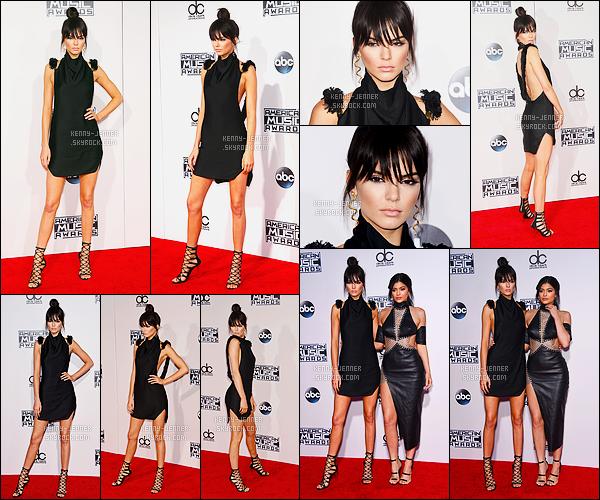 22/11/2015 : Kendall Jenner s'est rendue à la cérémonie des American Music Awards, se situant, à Los Angeles. Kendall s'est rendue à la cérémonie avec sa petite soeur Kylie Jenner. Sa robe est très jolie, c'est un top de ma part. Sa coiffure est très jolie aussi.
