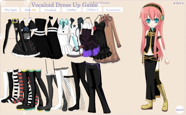 Jeu Vocaloid Dress Up (Première version)