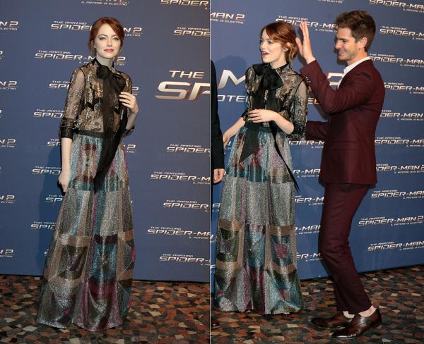 + 14/04 : Le cast de TASM2 était présent à Rome pour l'avant-première italienne du film. Emma, splendide, portait une robe Valentino.