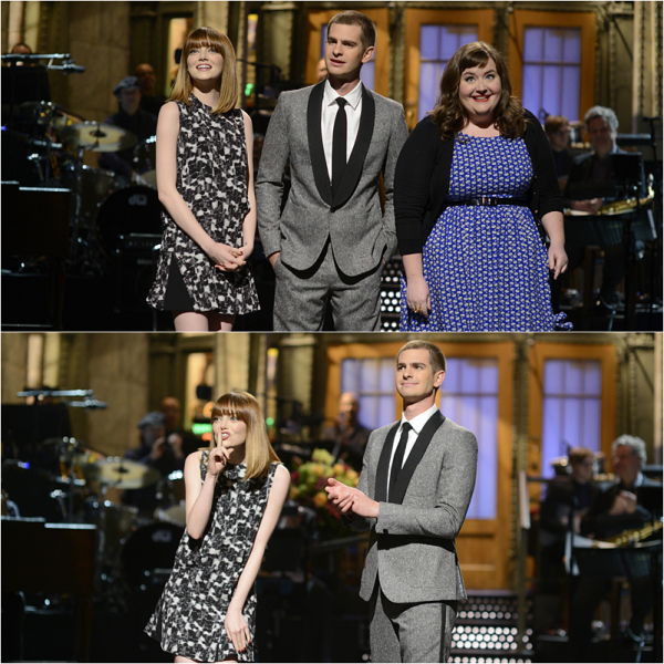 03/05 : Emma était au Saturday Night Live afin d'accompagner Andrew qui faisait ses premiers pas en tant que hôte du show ! Chris Martin, chanteur du groupe Coldplay était également de la partie.