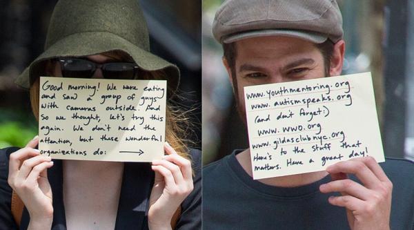 17/06 : La fameuse technique de Stonefield est revenue! En effet, comme le 19 mars 2013, le couple a profité de la présence des paparazzis pour passer un message caritatif.