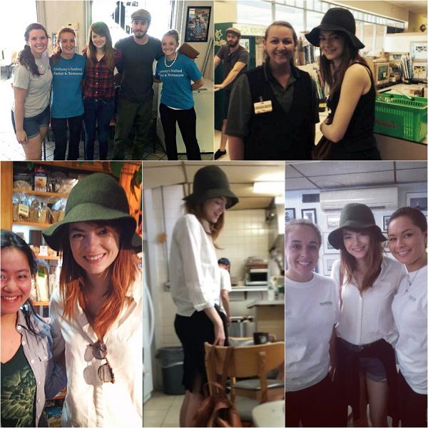 Emma est depuis quelques jours à Newport, Rhode Island, afin de tourner dans le nouveau projet de Woody Allen. Plusieurs fans chanceux ont pu la croiser hors tournage.