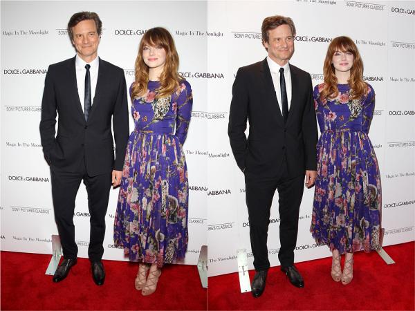 """17/07 : La toute première avant-première du film """"Magic in the Moonlight"""" de Woody Allen vient de se passer à NYC. Andrew est venu soutenir Emma. Dane Dehann était également présent pour elle."""