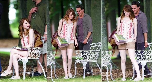 28/07 : Emma était encore sur le tournage du nouveau projet de Allen, à Providence, aux côtés de Joaquin Phoenix. Par la suite, elle s'est changée pour une autre scène.