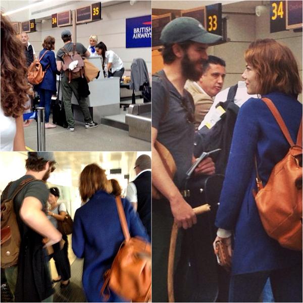 """30/08 : Après avoir à leur tour présenter leur nouveau film, le couple s'est dirigé vers l'aéroport de Venise afin de rentrer en Amérique (ou peut-être partir en Grande Bretagne comme le montre l'affichage """"British Airways"""", compagnie aérienne anglaise)."""