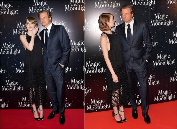 """11/09 : L'avant-première française de """"Magic in the moonlight"""" s'est déroulée à Paris avec Emma et Colin Firth. Emma portait une très jolie robe signée Chloé, qui rappelait le code vestimentaire des années 20."""