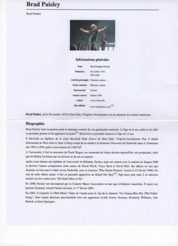 biographie de Brad Paisley ( mon chouchou américain)