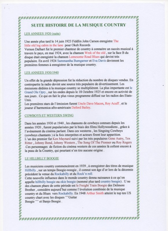 L'HISTOIRE DE LA MUSIQUE COUNTRY ET SES DEBUTS .....PARTIE N°1