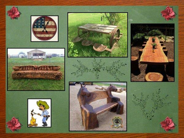 N° 3 : La Déco style western .... Aujourd'hui l'extérieur, avec toujours beaucoup d'imagination ,et de rusticité pour vos banquets d'été .....Le bois en vedette bien sur et le fer ,avec du travail pour la réalisation ...