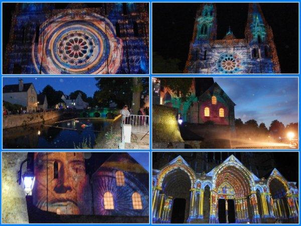 Démo Chartres Country à la Fête de L'Eau à Chartres 28...... L'eau et la lumière , sous un ciel étoilé .
