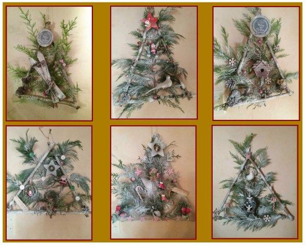 Les voici terminées , mes couronnes de Noel . Le calendrier de l'avent pour mon p'tit Jules et mes corbeilles décoratives pour la table réveillon . Dès lundi j'attaque le sapin , le village et autres déco de ma salle .