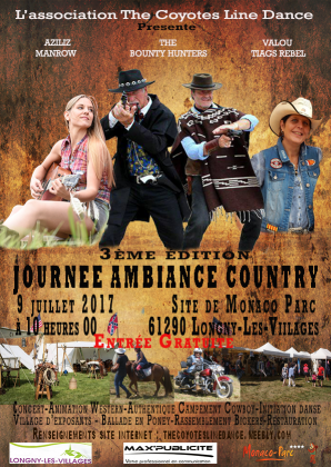 Festival avec notre animatrice Valou ... le 9 Juillet 2017 à Longny-au Perche  61290.Organisé par les Coyotes Line Danse . Un bon programme. toutes les affiches et infos utiles .
