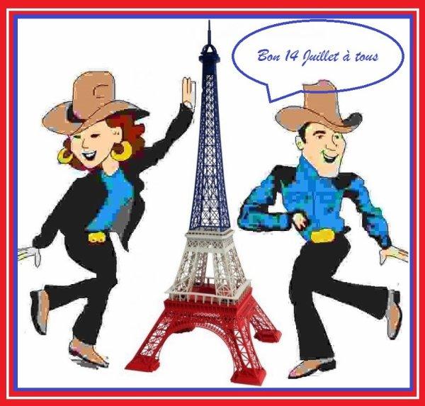 Bon 14 Juillet à tous !!!   Evidemment on va danser, avec les copines ... Ce n'est pas les planchers qui manquent , mais dur de choisir ou aller !! Et le soleil devrait participer alors bonne journée à tous les danseurs et tous les amis .