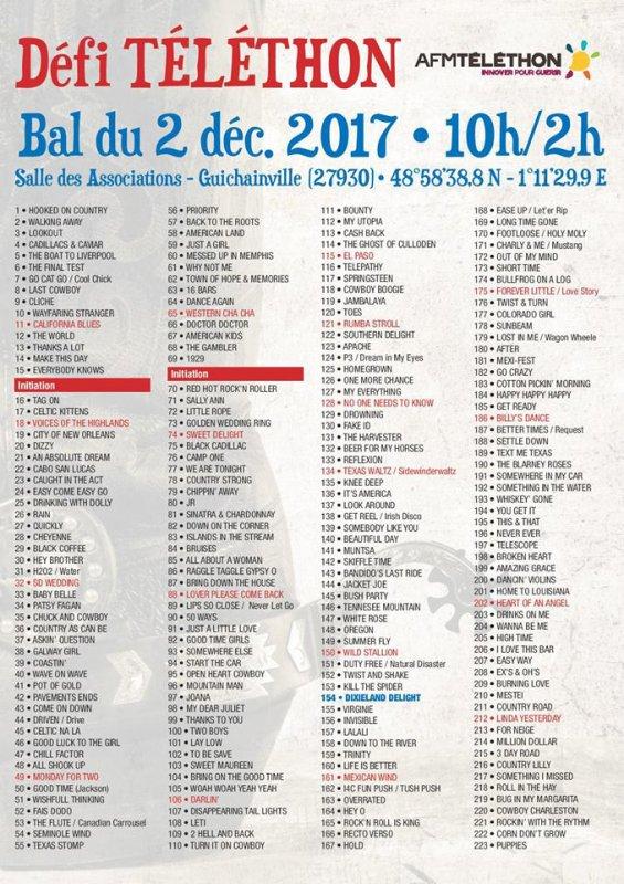 Bal Country au Profit du Téléthon : Samedi 02 Décembre 2017 à Guichainville (27930 )