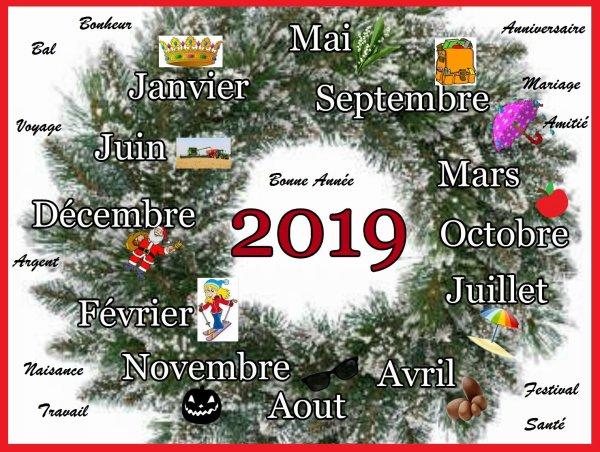 Une année vient de s'écouler pour laisser place à une autre avec ses mêmes fêtes , ses traditions , mais à nous d'y apporter le bonheur malgré les aléas de la vie qui peut nous réserver bien des surprises en tous genres . Prenez les petits bonheurs que 2019 voudra bien vous offrir , profitez de la vie avec vos amis , votre famille , avec beaucoup de moments partagés aussi bons et meilleurs que 2018.  Bonne année à vous tous , ma famille et mes amis (es) , que vos rêves ,même les plus petits se réalisent et prenez soin de vous ...... Mon calendrier 2019 se rempli d'événements à partagés , avec hâte et avec vous tous .....
