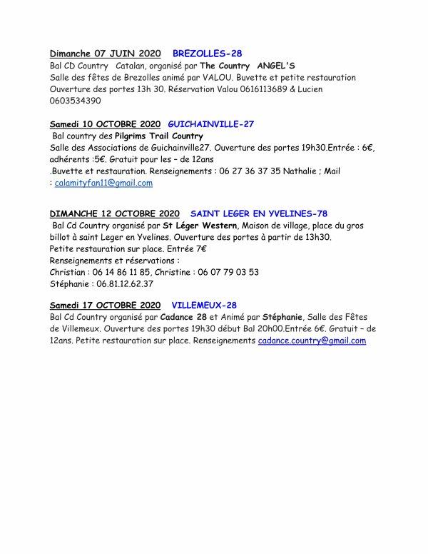 A vos agenda .......la suite pour :  Les dates  des bals des. Départements  27-28-72-61-78-41 - de Janvier à Oct 2020