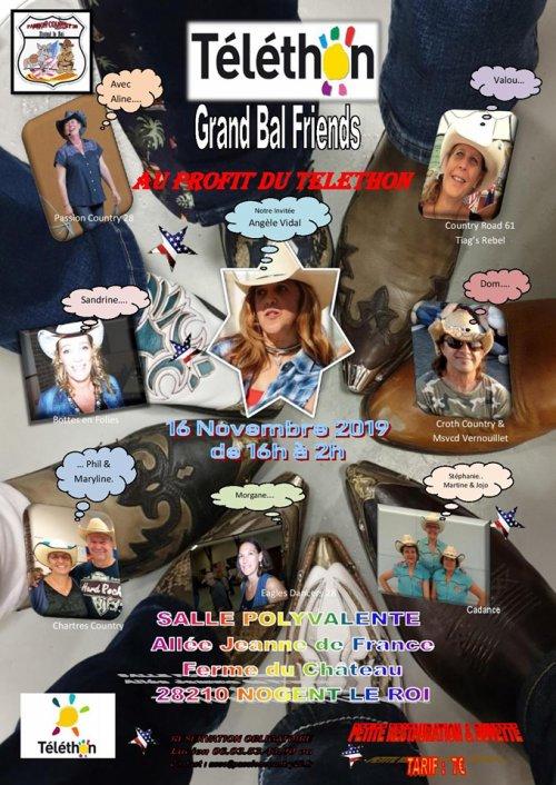 A vos agendas !! le 16 novembre grand bal de 10 heures de danses pour le Téléthon . Nogent Le Roi 28210.... Affiche et playlist