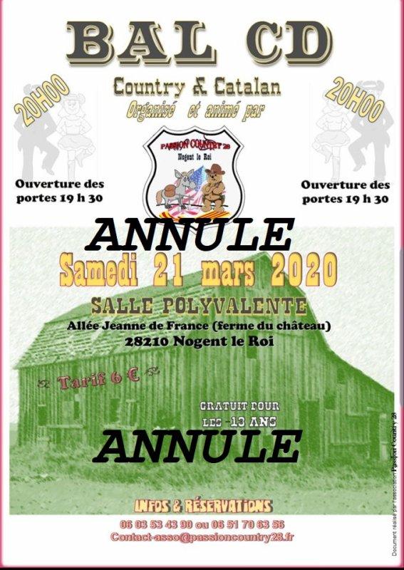 A vos agendas :  ATTENTION  / BAL ANNULE : le 21 mars 2020 :Chez Country Passion à Nogent Le Roi 28210. Playlist plus tard ....merci....