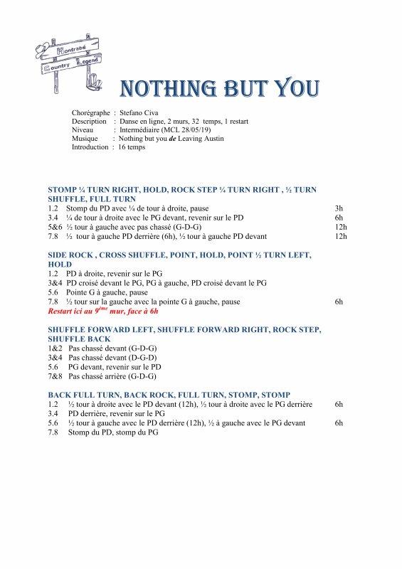 Nothing But You : Vidéo Live confinement avec Valou 2020   .... Attention plusieurs chorégraphies sur cette musique avec divers chorégraphes ...