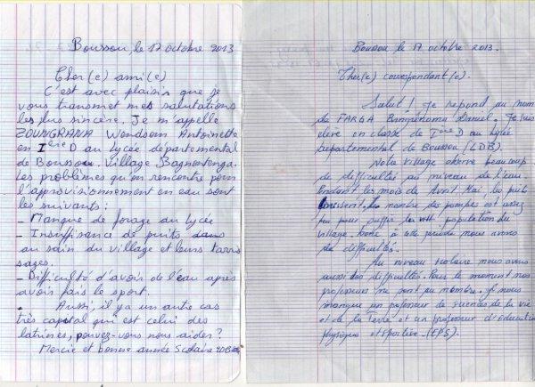 Correspondance ... entre la Belgique et le Burkina faso ...