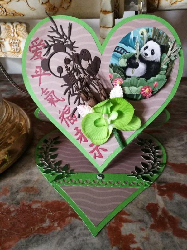 carte coeur panda