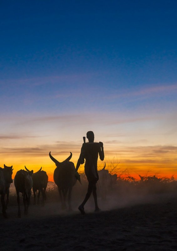 Silhouette of an afar tribe
