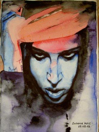 Marilyn Manson by Susanna Varis . Aquarelle .