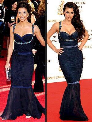 Les stars portent les mêmes tenues 4 : Eva Longoria et Kim Kardashian !