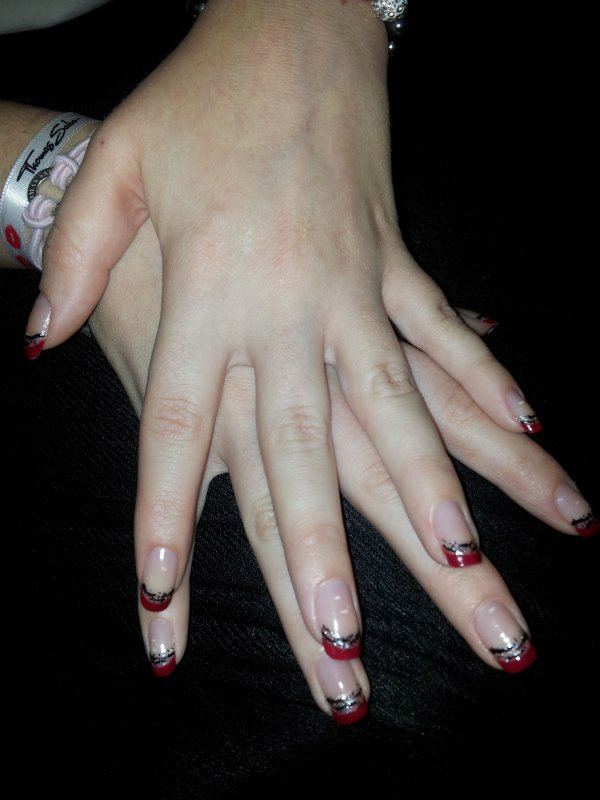 French manucure rouge paillettes z bre laury s nail - French manucure rouge ...