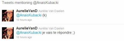 - Aurélie au You + Ses réponses.