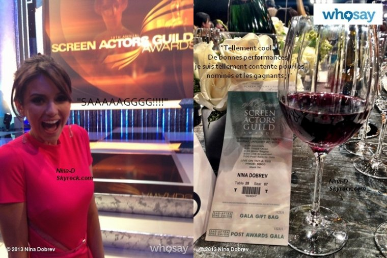 La sublime Nina a également posté des photos d'elle aux SAG, on peut notamment la voir en compagnie de Gabrielle Douglas, gymnaste médaillée d'or aux JO 2012, et qui était présente sur le set 4X07 de TVD