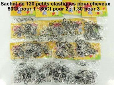 les 120 élastique pour 50 centime  , 80 ct les 2 et seulement 1.30 euros les 3 existe en d'autre colorie