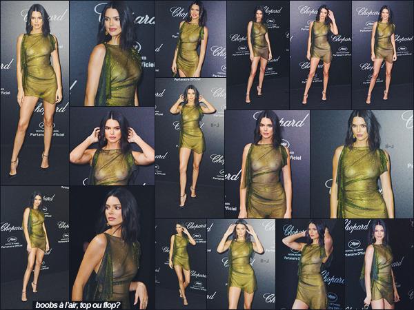 11/05/18 - La jolie Kendall Jenner était l'invitée de l'evenement «Secret Chopard» situé à Cannes, France.   | C'est vêtu d'une robe verte transparente que Kendall J. à montrer le bout de ses seins (mdr). Que pensez-vous de cette provocante tenue? ● ● TOP |