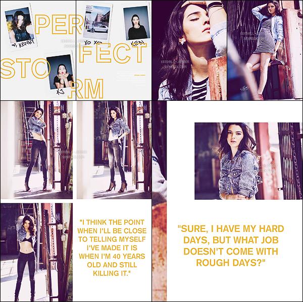 - Kendall Jenner est en couverture du magazine « Status », pour l'édition de Juin 2015.   On y retrouve quelques photos issues du photoshoot pour la marque Penshoppe. La couverture est très jolie ! •• Kendall Jenner : perfect storm ! -