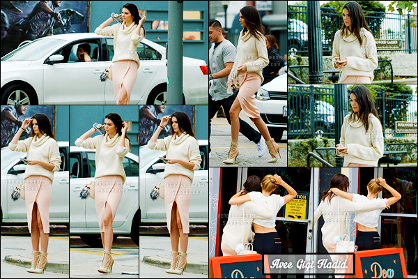 - 13/06/15 : La belle Kendall Jenner se rendait déjeuner au restaurant « Canter's » qui se trouve à - Los Angeles.   Elle était accompagnée de quelques amis, dont la mannequin Gigi Hadid. Côté tenue je suis totalement fan, j'adore les couleurs. Sublime Kendi' ! -