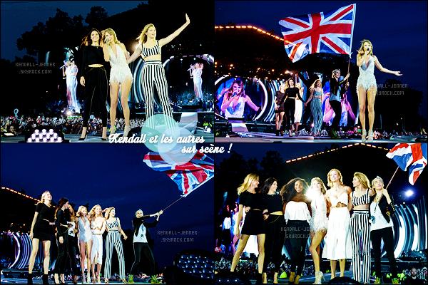 - 27/06/15 : Kendall J. et d'autres starlettes étaient sur scène avec Taylor Swift lors de son concert à - Londres.   Le duo CaKe, Gigi Hadid, Martha Hunt, la sportive Serena Williams et Karlie Kloss ont débarqué sur scène aux côtés de T. lors de la chanson Style.  -
