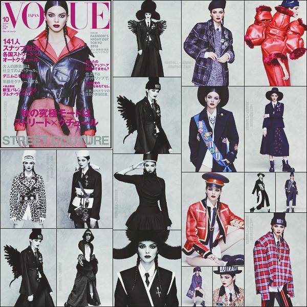 - ● Kendall Jenner est en couverture du « Vogue Japon » pour le mois d'octobre 2016.    Ambiance dark  ! Photographiée par Luigi & Iango et habillée par Anna Dello Russo, elle ajoute une nouvelle couverture Vogue à son tableau. Avis ? -
