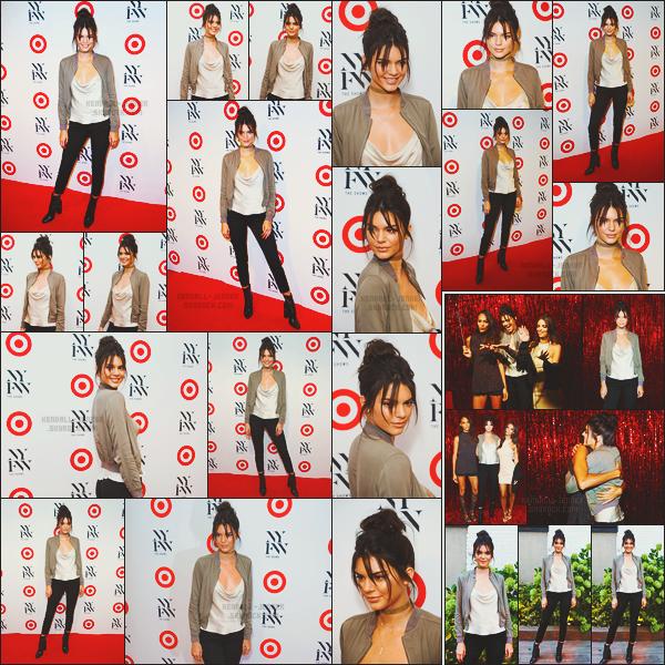 - -• 06/09/16-' : Kendall Jenner était à l'événement de Kick Off, « Target + IMG » pour la Fashion-Week de New York City !    Sa présence a New York n'est pas seulement dû à la Fashion-Week à laquelle Kendall participera, mais aussi pour assister à divers événements privés. -